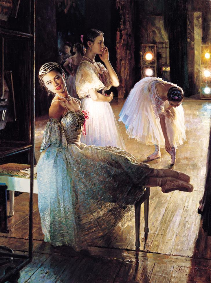 芭蕾舞蹈人物油画